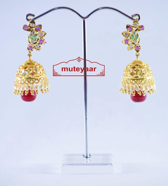 Jadau Gold Polished Traditional Punjabi Earrings set J0142 1