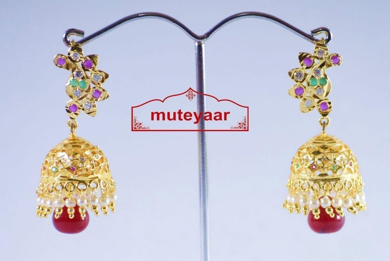 Jadau Gold Polished Traditional Punjabi Earrings set J0142 2