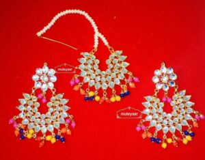 Kundan Work Multicolour Traditional Punjabi Jewellery Earrings Tikka set J0150