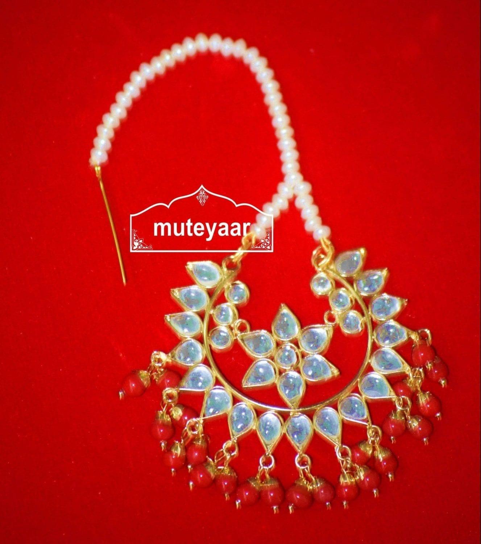 Kundan Work Big Size Traditional Punjabi Jewellery Maang Tikka J0164 1