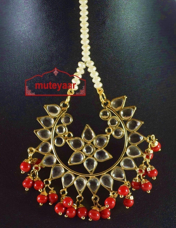 Kundan Work Big Size Traditional Punjabi Jewellery Maang Tikka J0164 2