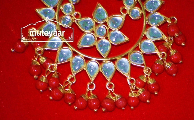 Kundan Work Big Size Traditional Punjabi Jewellery Maang Tikka J0164 3