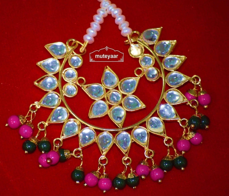 Kundan Work Big Size Traditional Punjabi Jewellery Maang Tikka J0165 3