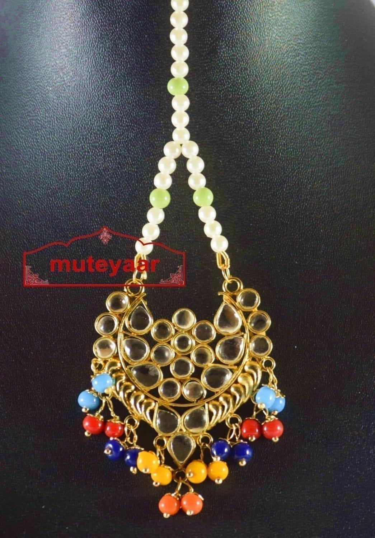 Kundan Work Traditional Punjabi Jewellery Maang Tikka J0170 2