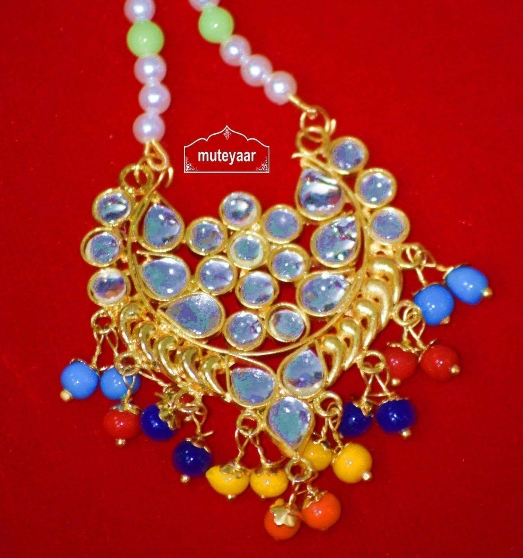 Kundan Work Traditional Punjabi Jewellery Maang Tikka J0170 3