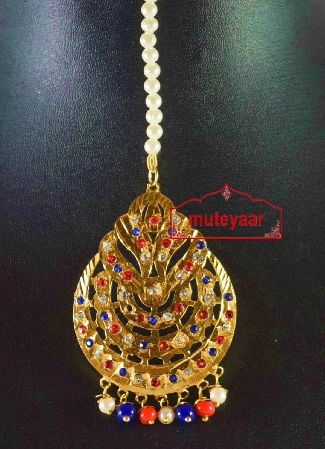 Jadau Cut Jaali Work Traditional Punjabi Jewellery Maang Tikka J0171 2