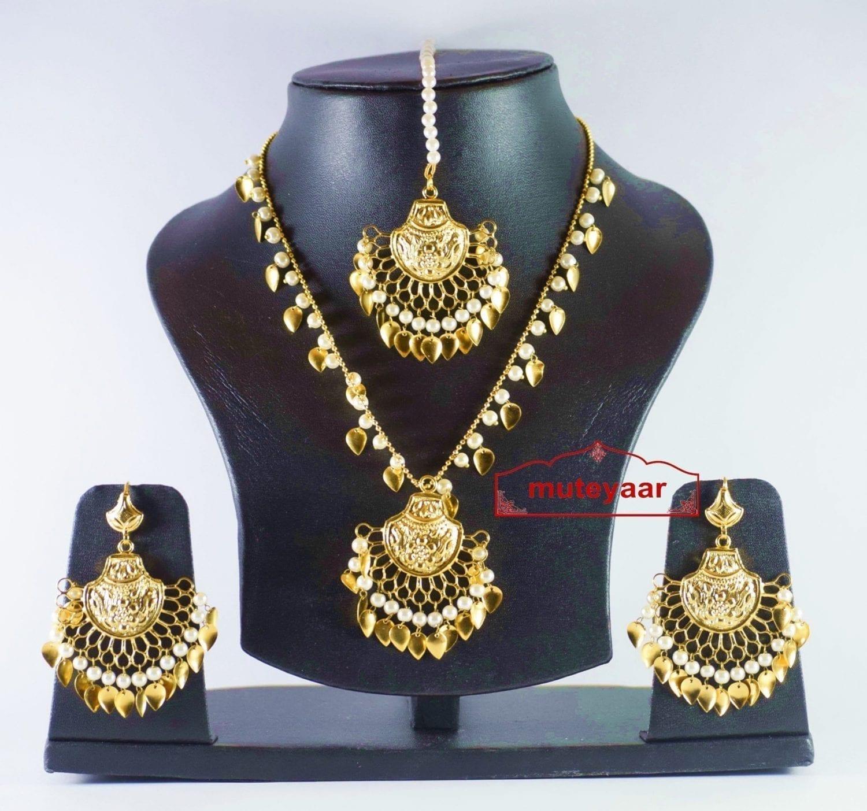 Gold Plated Traditional Punjabi Jewellery Earrings Tikka Pendant set J0178 1
