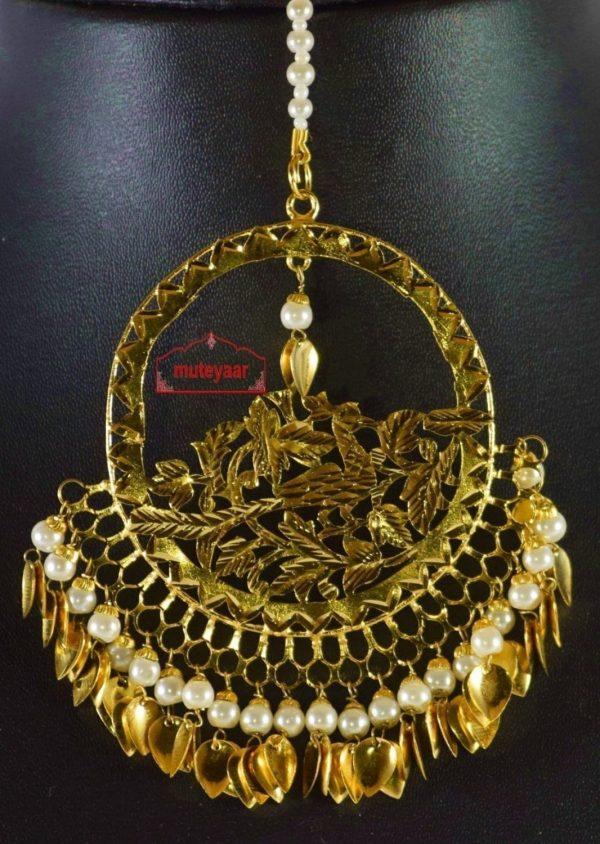 24 Ct. Gold Plated Big Size Traditional Punjabi Tikka Maang Teeka J0180
