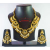 Hand Made Gold Plated Traditional Punjabi Jewellery Earrings Tikka Pendant set J0184