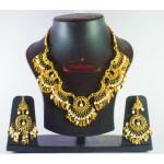 Hand Made Gold Plated Traditional Punjabi Jewellery Earrings Tikka Pendant set J0184