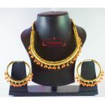 Gold Polish Traditional Punjabi jewellery Hasli Necklace & Bali set J0188