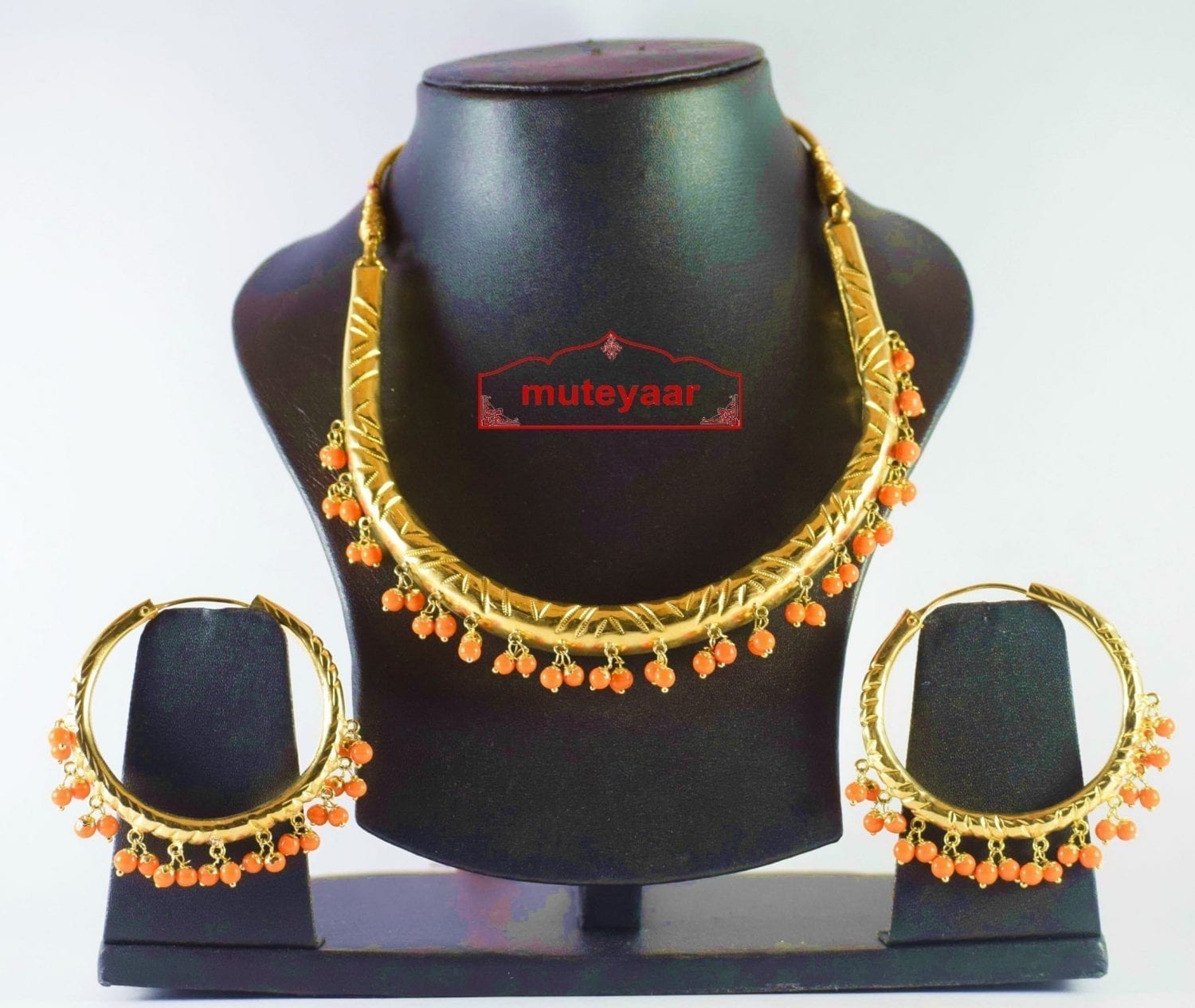 Gold Polish Traditional Punjabi jewellery Hasli Necklace & Bali set J0188 1