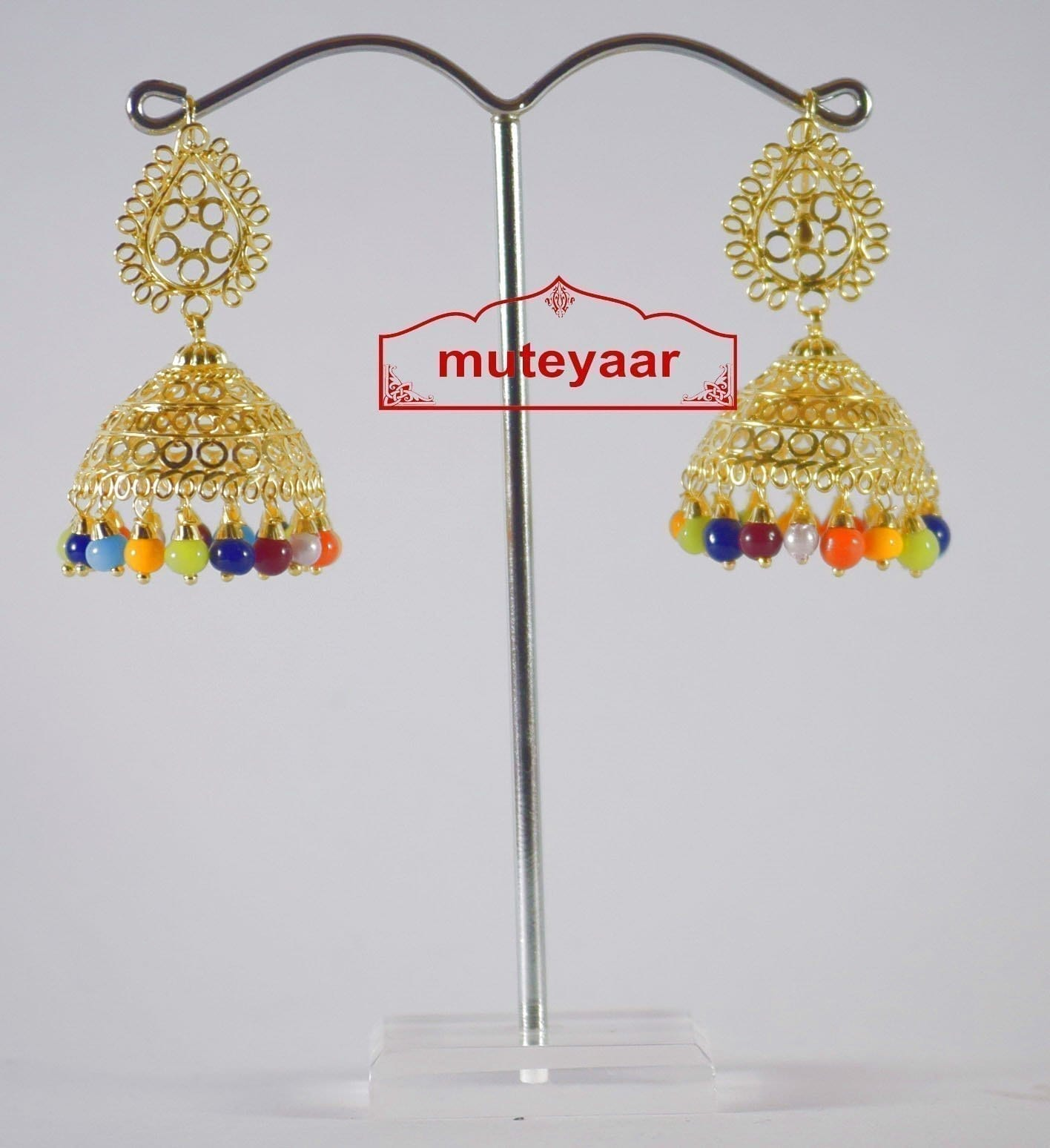 Gold Polished Traditional Punjabi Earrings Multicolor Jhumiki set J0189 1