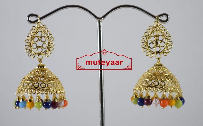 Gold Polished Traditional Punjabi Earrings Multicolor Jhumiki set J0189 2