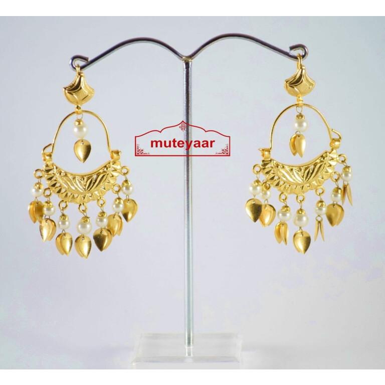 Hand Made Gold Plated Traditional Punjabi Jewellery Earrings Jhumki J0190