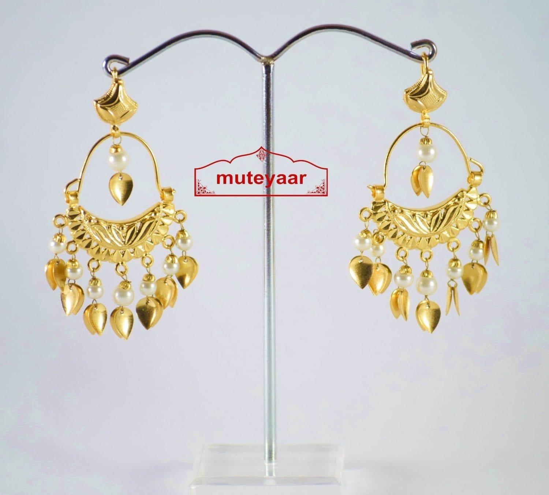 Hand Made Gold Plated Traditional Punjabi Jewellery Earrings Jhumki J0190 1