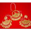 24 Ct. Gold Plated Traditional Punjabi Jewellery Morewali Earrings Tikka Set J0197