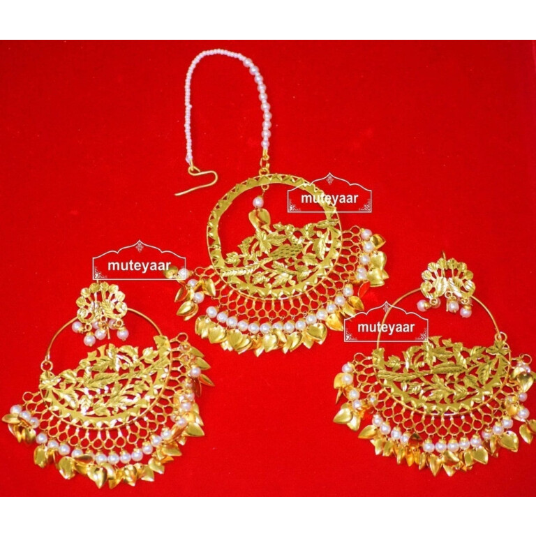 24 Ct. Gold Plated Traditional Punjabi Jewellery Morewali Earrings Tikka Set J0197