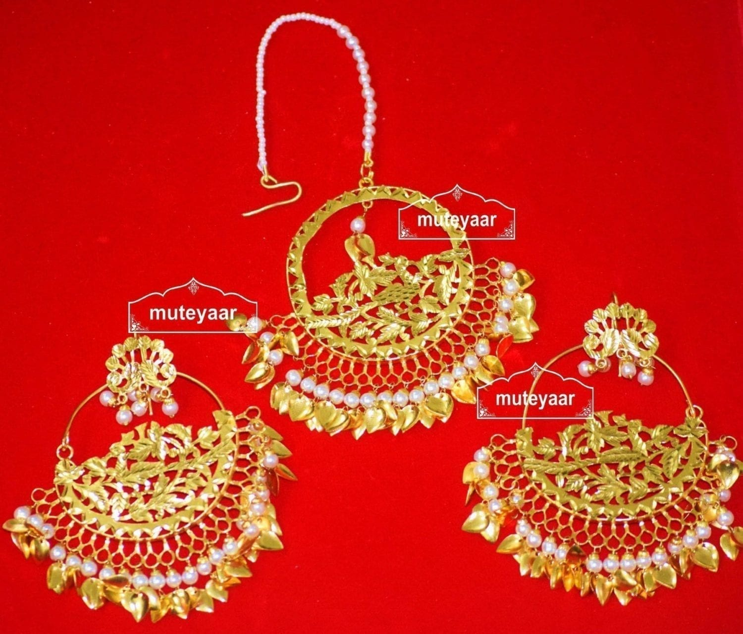24 Ct. Gold Plated Traditional Punjabi Jewellery Morewali Earrings Tikka Set J0197 1