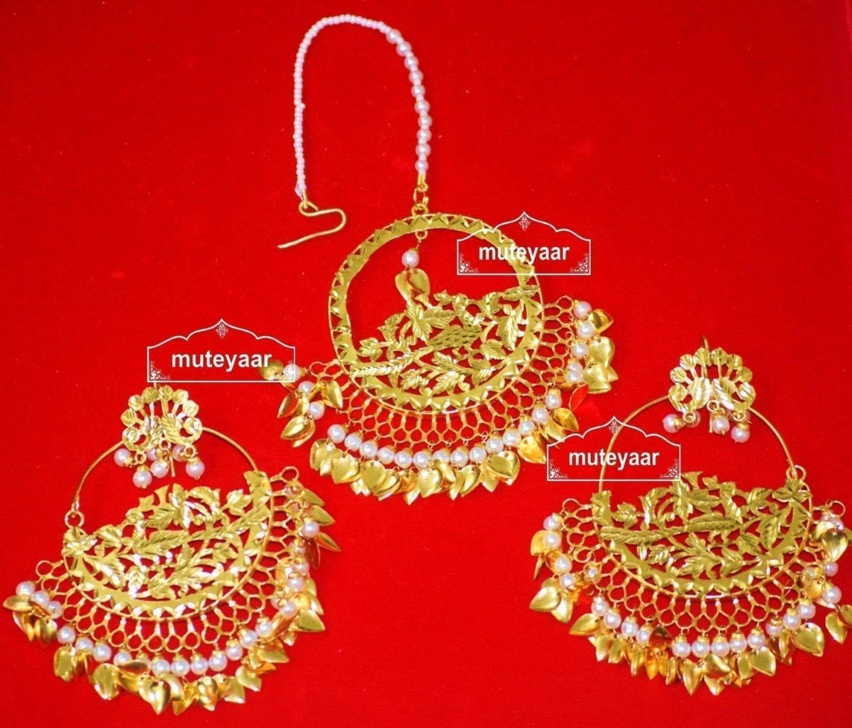 24 Ct. Gold Plated Traditional Punjabi Jewellery Morewali Earrings Tikka Set J0197 1