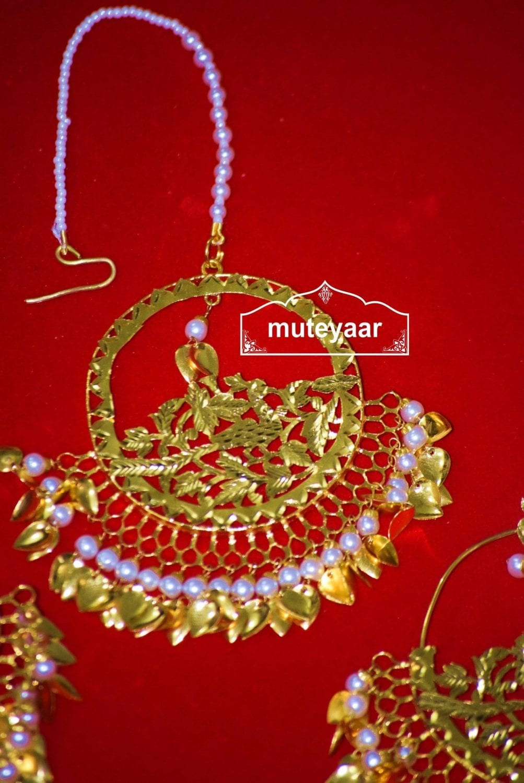 24 Ct. Gold Plated Traditional Punjabi Jewellery Morewali Earrings Tikka Set J0197 2