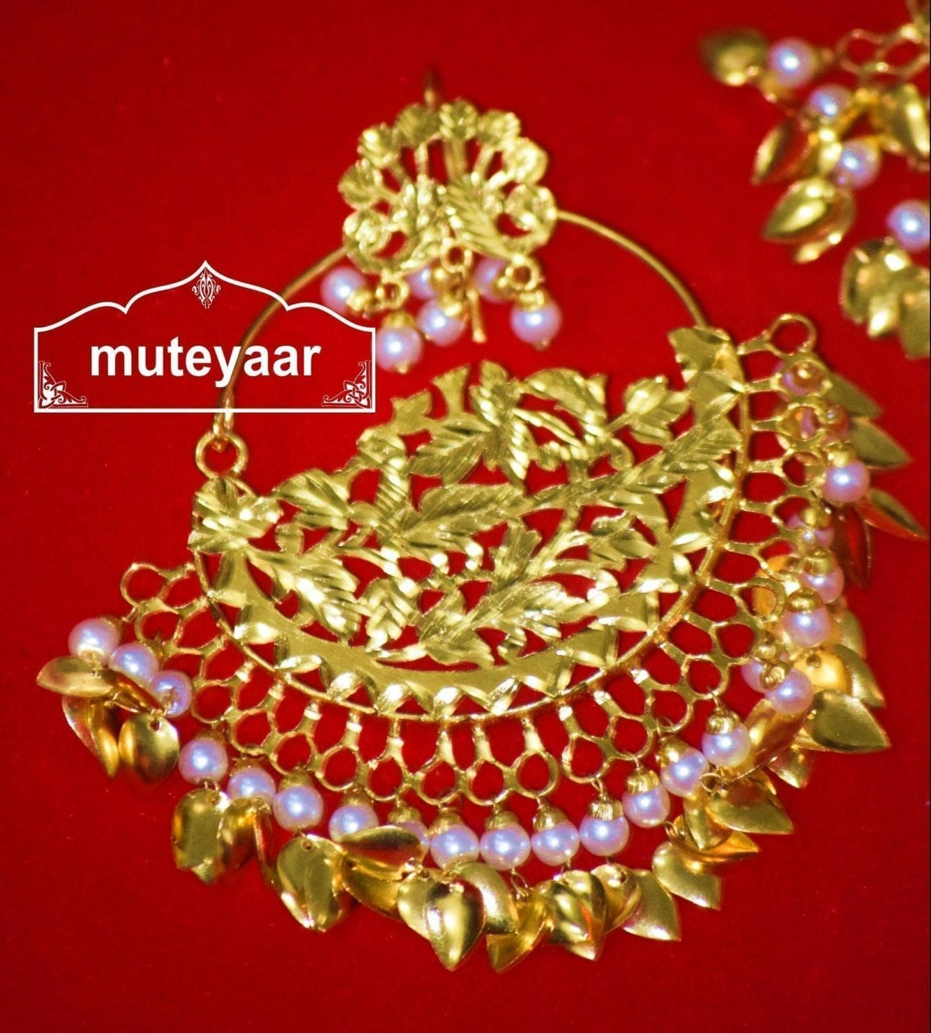 24 Ct. Gold Plated Traditional Punjabi Jewellery Morewali Earrings Tikka Set J0197 3