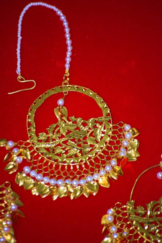24 Ct. Gold Plated Traditional Punjabi Jewellery Morewali Earrings Tikka Set J0197 5