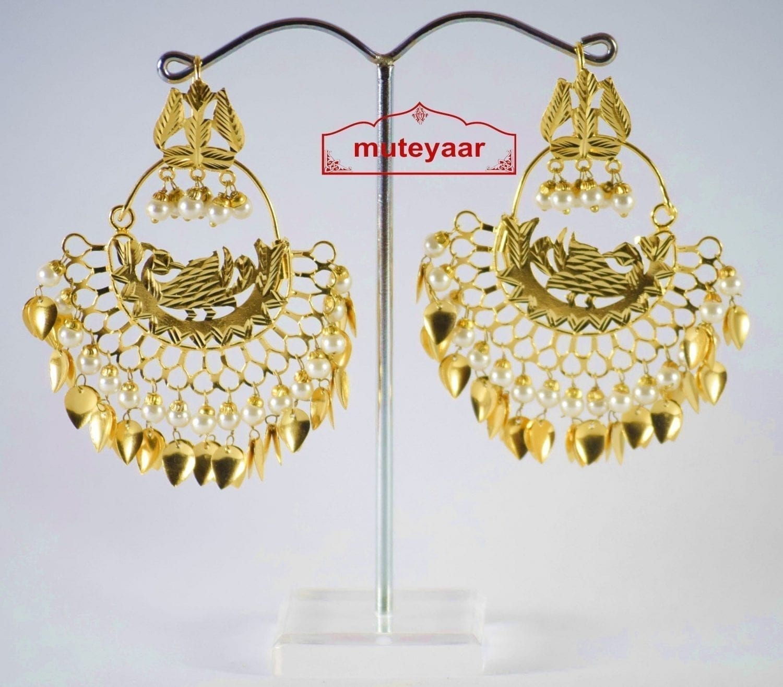 Hand Made Gold Plated Morni Design Traditional Punjabi Earrings Jhumka J0200 1