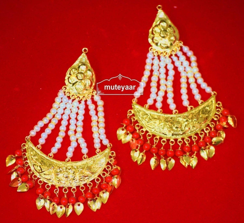 Gold Polished Punjabi Traditional Jewellery Earrings Long Jhumka J0297 1