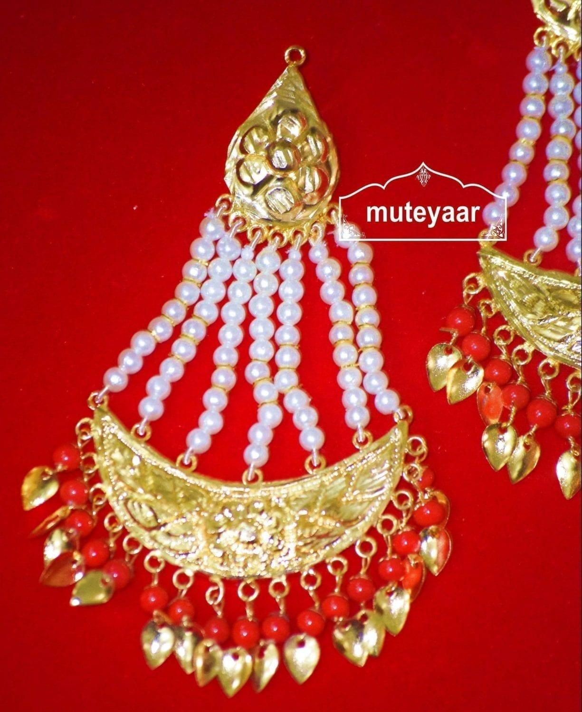 Gold Polished Punjabi Traditional Jewellery Earrings Long Jhumka J0297 2