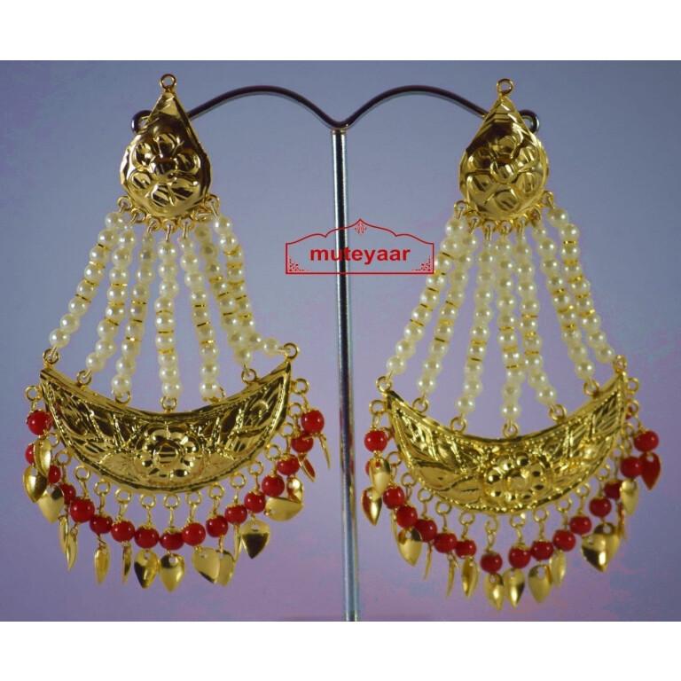 Gold Polished Punjabi Traditional Jewellery Earrings Long Jhumka J0297