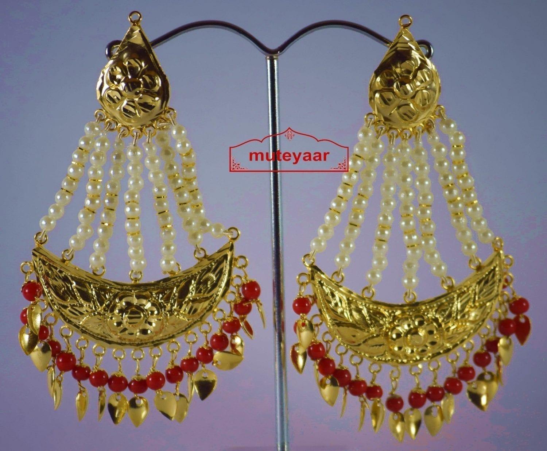 Gold Polished Punjabi Traditional Jewellery Earrings Long Jhumka J0297 4