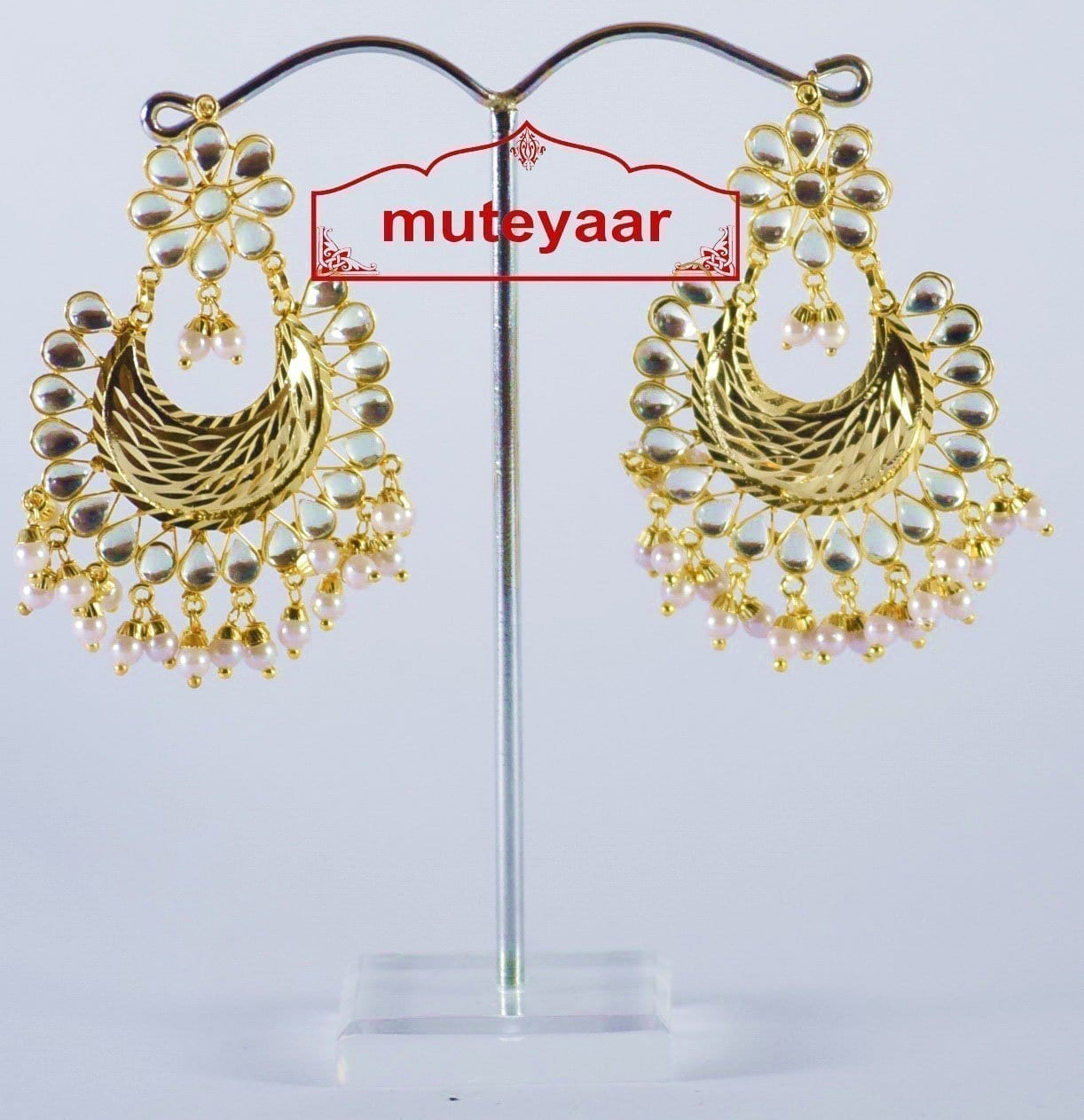 Kundan Beads Gold Polish Traditional Punjabi Jewellery Earrings Jhumka J0302 3