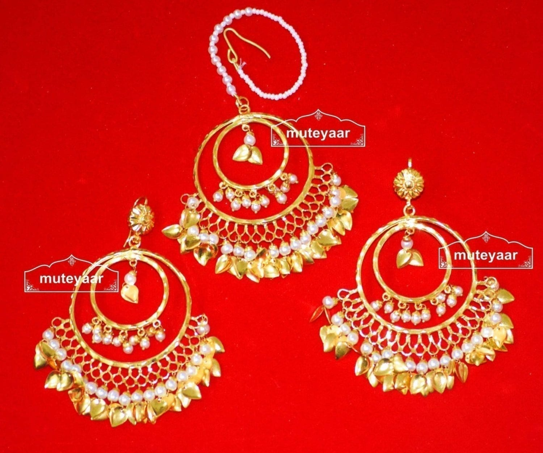 Hand Made Gold Plated Traditional Punjabi Jewellery Earrings Tikka set J0303 1