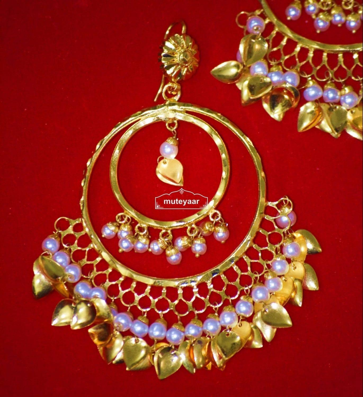 Hand Made Gold Plated Traditional Punjabi Jewellery Earrings Tikka set J0303 2