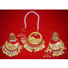 Hand Made Gold Plated Morni Design Traditional Punjabi Earrings Tikka Set J0305