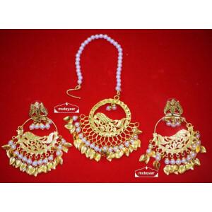 Hand Made Gold Plated Morni Design Traditional Punjabi Earrings Tikka Set J0305