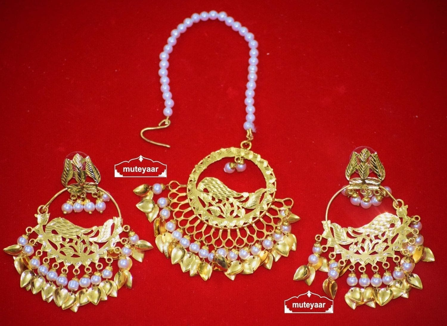 Hand Made Gold Plated Morni Design Traditional Punjabi Earrings Tikka Set J0305 1