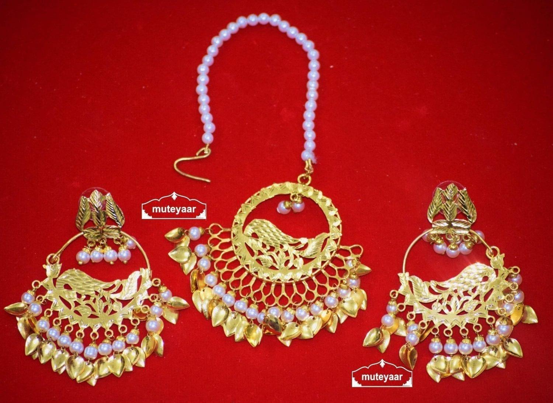 Hand Made Gold Plated Morni Design Traditional Punjabi Earrings Tikka Set J0305 1