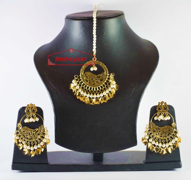 Hand Made Gold Plated Morni Design Traditional Punjabi Earrings Tikka Set J0305 2