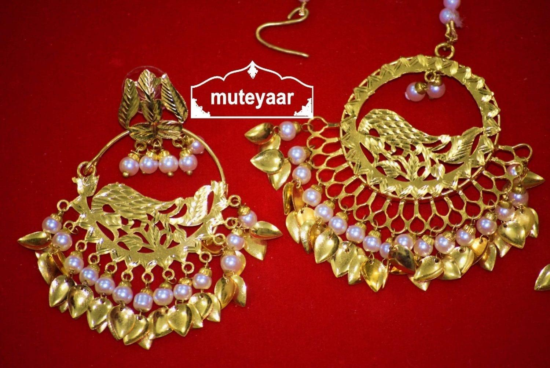 Hand Made Gold Plated Morni Design Traditional Punjabi Earrings Tikka Set J0305 3