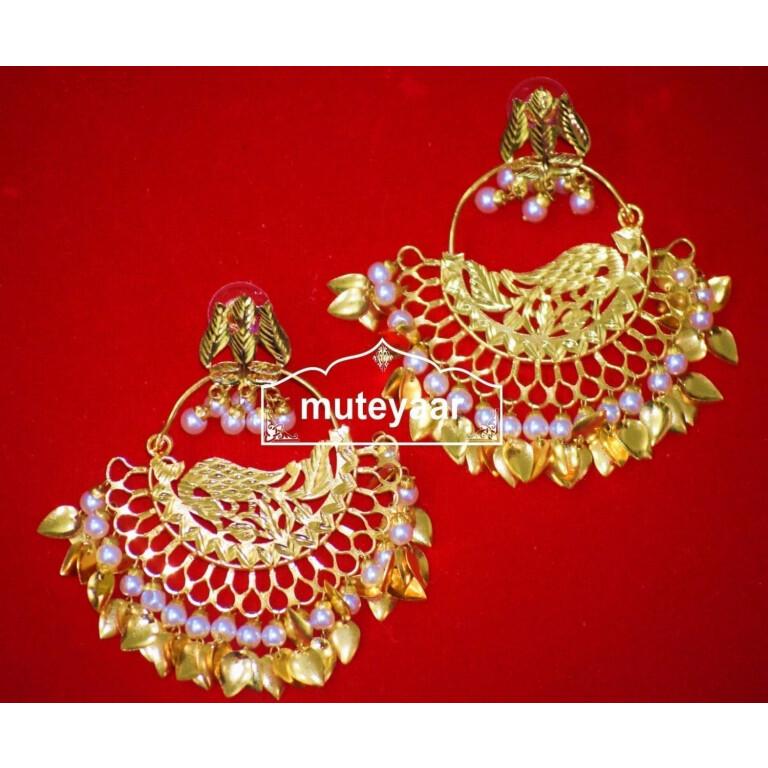 Hand Made Gold Plated Morni Design Traditional Punjabi Earrings Jhumka J0306