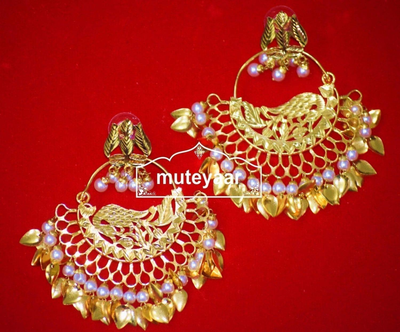 Hand Made Gold Plated Morni Design Traditional Punjabi Earrings Jhumka J0306 1