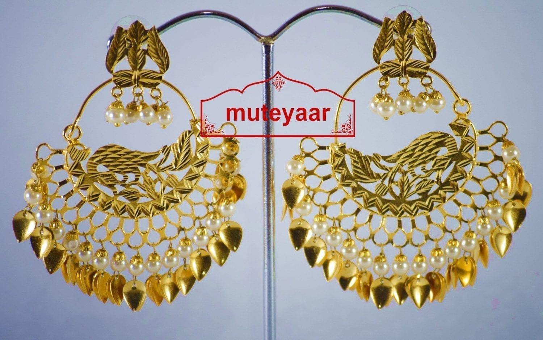 Hand Made Gold Plated Morni Design Traditional Punjabi Earrings Jhumka J0306 2