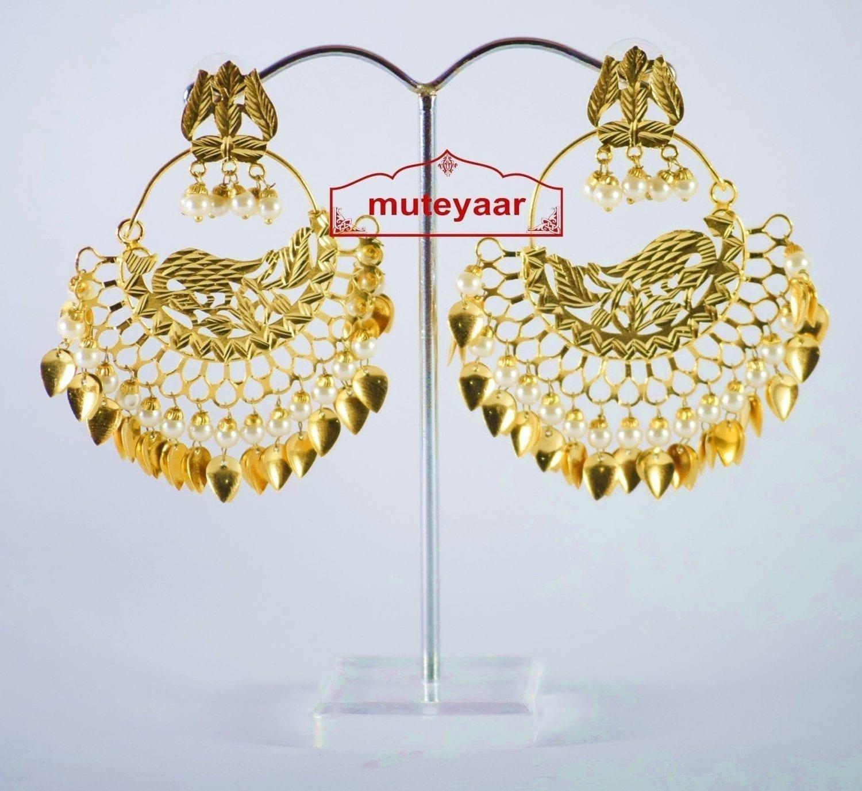 Hand Made Gold Plated Morni Design Traditional Punjabi Earrings Jhumka J0306 3