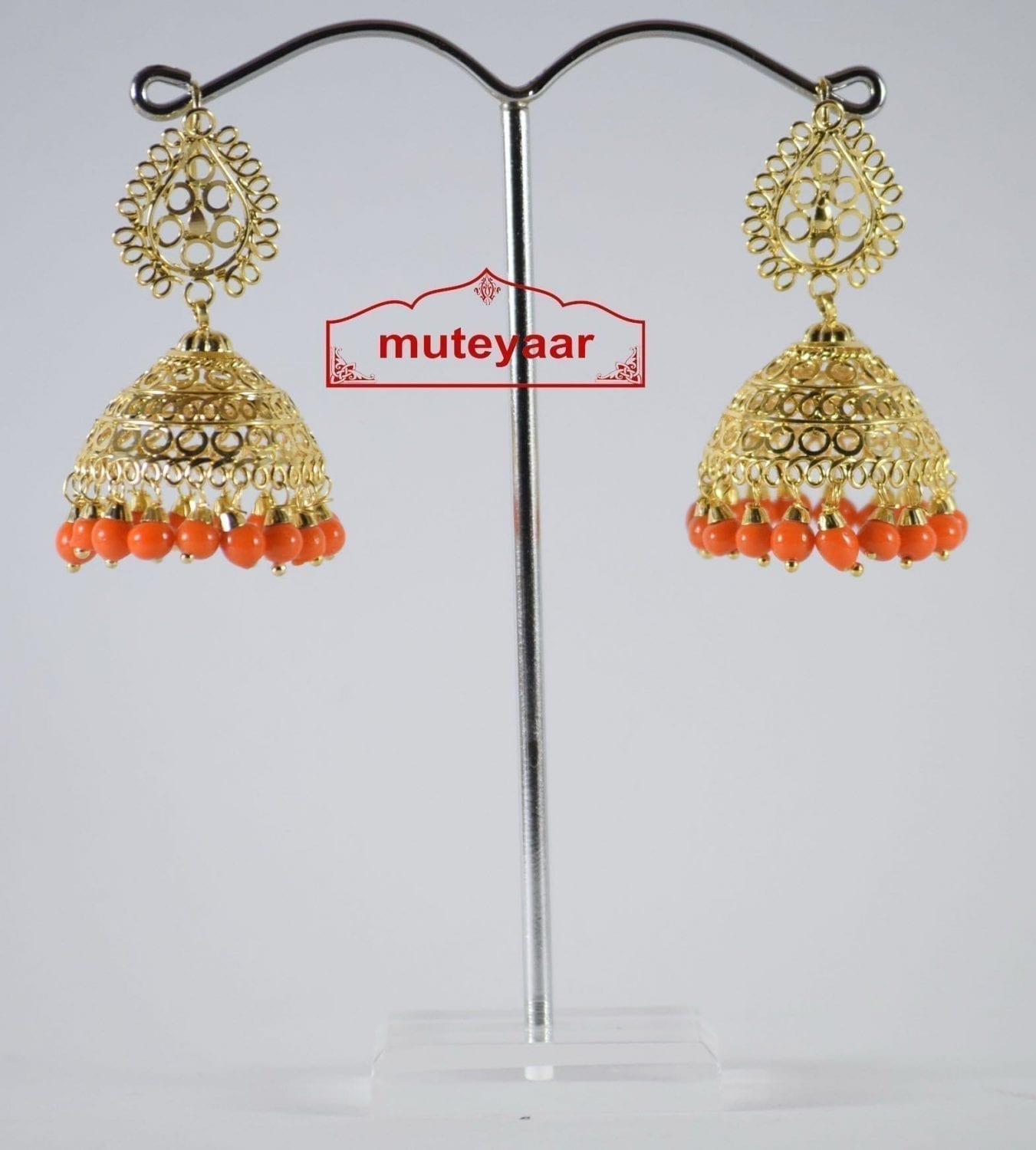 Gold Polished Traditional Punjabi Earrings Jhumiki set with Orange beads J0307 1