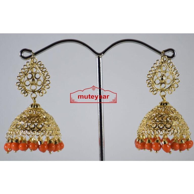 Gold Polished Traditional Punjabi Earrings Jhumiki set with Orange beads J0307