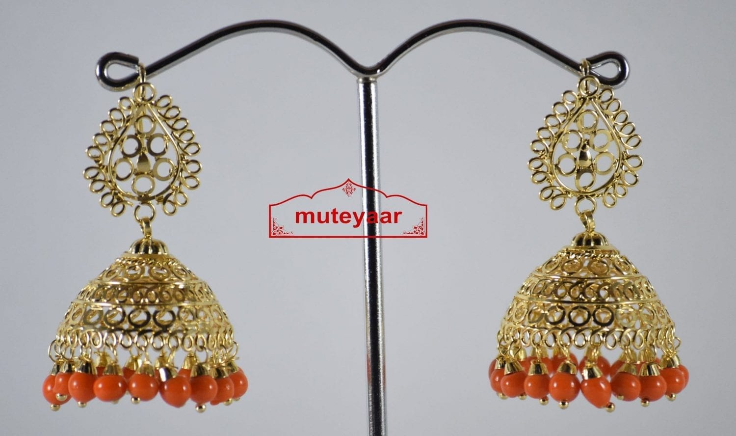 Gold Polished Traditional Punjabi Earrings Jhumiki set with Orange beads J0307 2