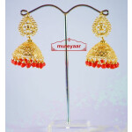 Gold Polished Traditional Punjabi Earrings Jhumiki set with Red beads J0309