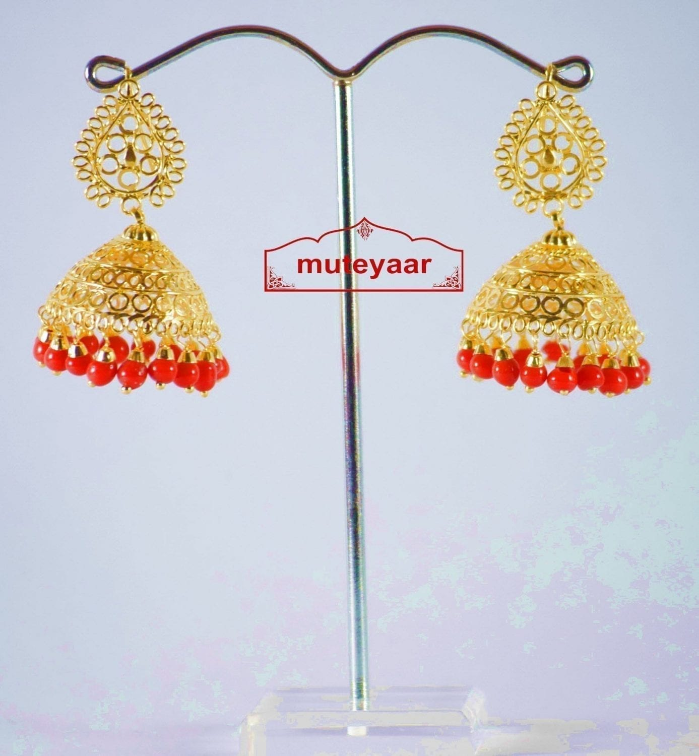 Gold Polished Traditional Punjabi Earrings Jhumiki set with Red beads J0309 1